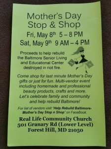 Fundraiser to help rebuild Baltimore to take place in Forest Hill {May 8 -9}