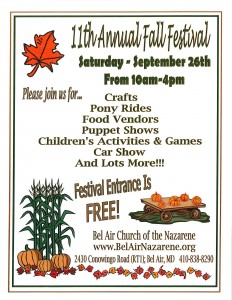 Bel Air Church of the Nazarene 11th Annual Fall Festival – {September 26}