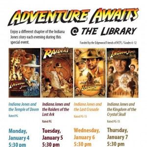 {FREE} Adventure Awaits at the Library: Indiana Jones 4 day special event – January 4-7