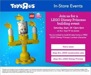 Free LEGO® Disney Princess Event at Toys R Us – September 24