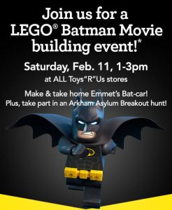 Free LEGO® Batman Build Event at Toys R Us in Bel Air – February 11