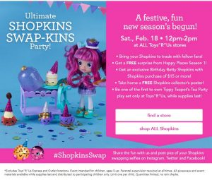 FREE Shopkins Swap-Kins Event at Toys R Us in Bel Air- February 18