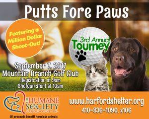 Humane Society of Harford County's 3rd Annual Golf Tournament Set for Thursday, September 7, 2017