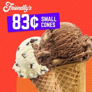 Friendly's Celebrates their 83rd Birthday with 83 Cent Cones Today!