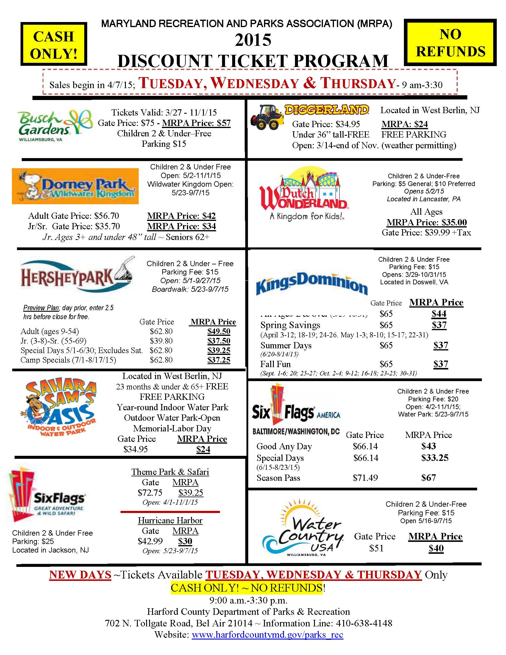 Discounted Amusement Park Tickets Available From Harford County Parks & Rec