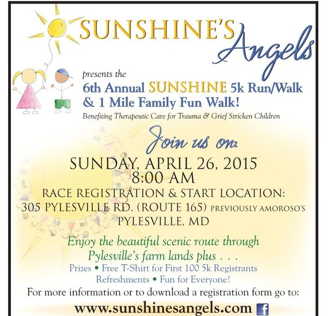6th Annual Sunshine's Angels 5K Race/Walk – April 26