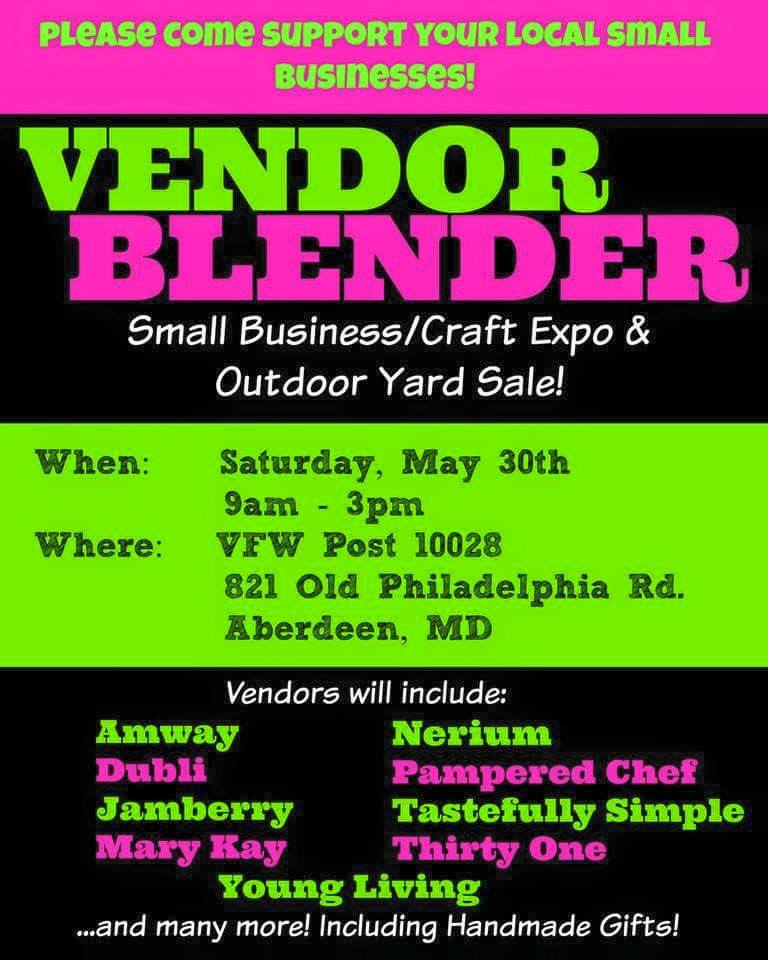 {FREE} Vendor Blender Small Business Craft Expo & Yard Sale in Aberdeen – May 30