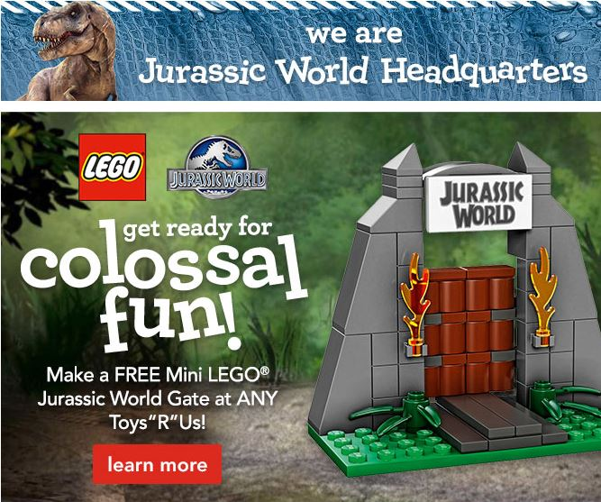{FREE} Make a FREE Mini LEGO® Jurassic World Gate this Saturday at Toys R Us!