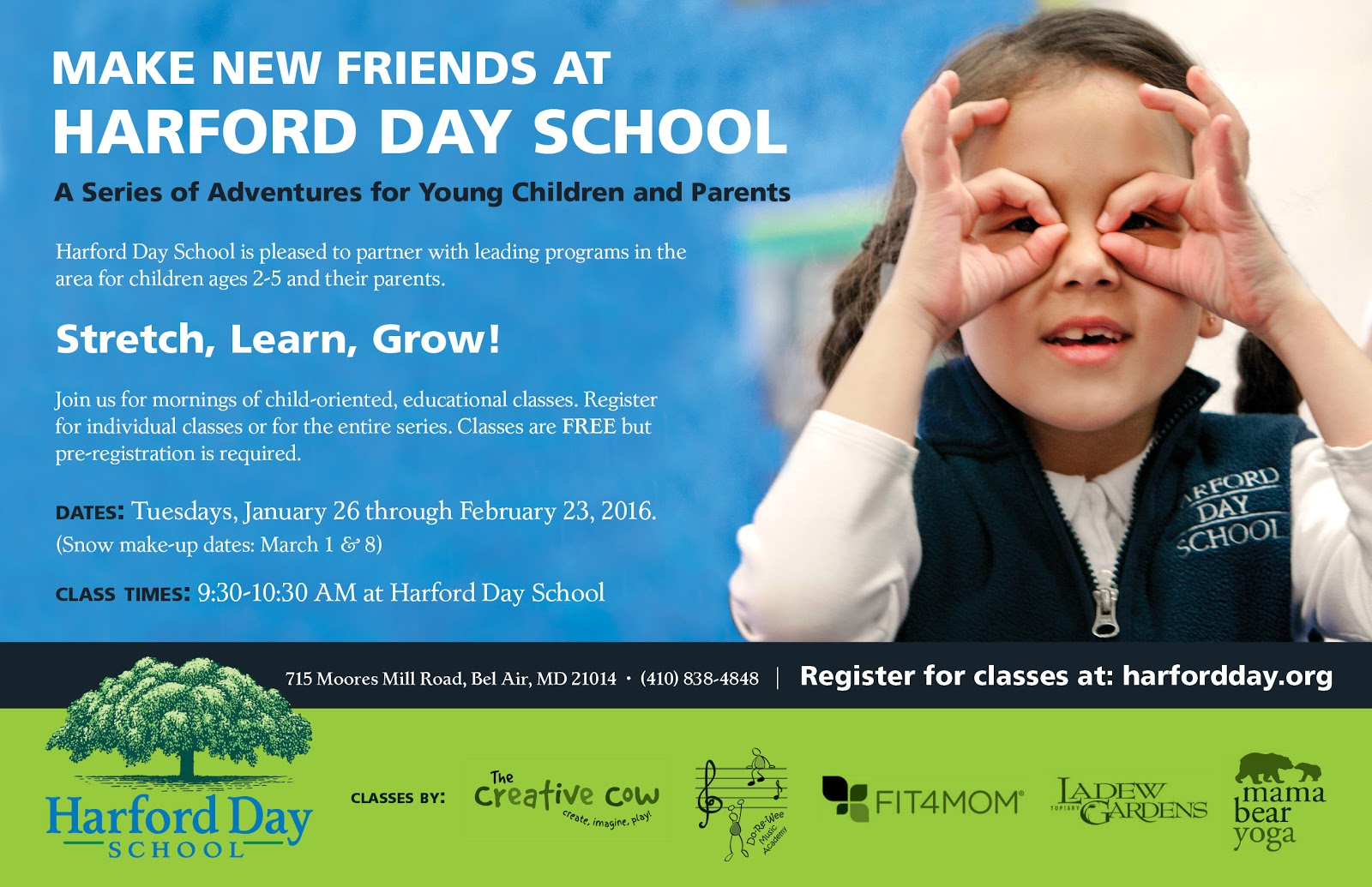 FREE Classes for Ages 2 – 5 at Harford Day School