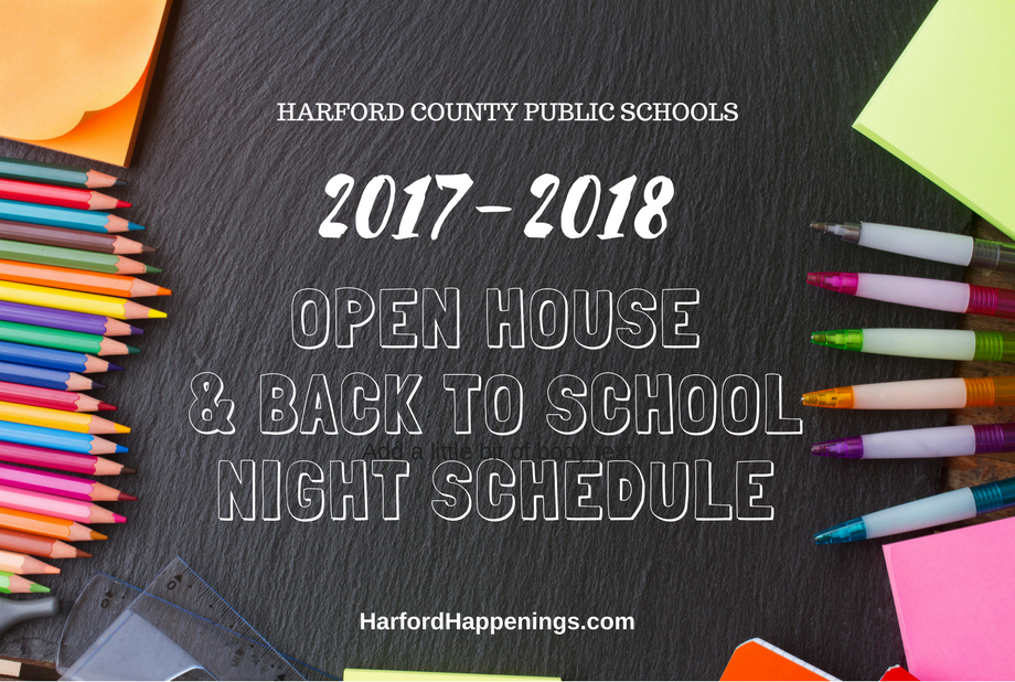 2017 Harford County Public School Open Houses and Back to School Schedules