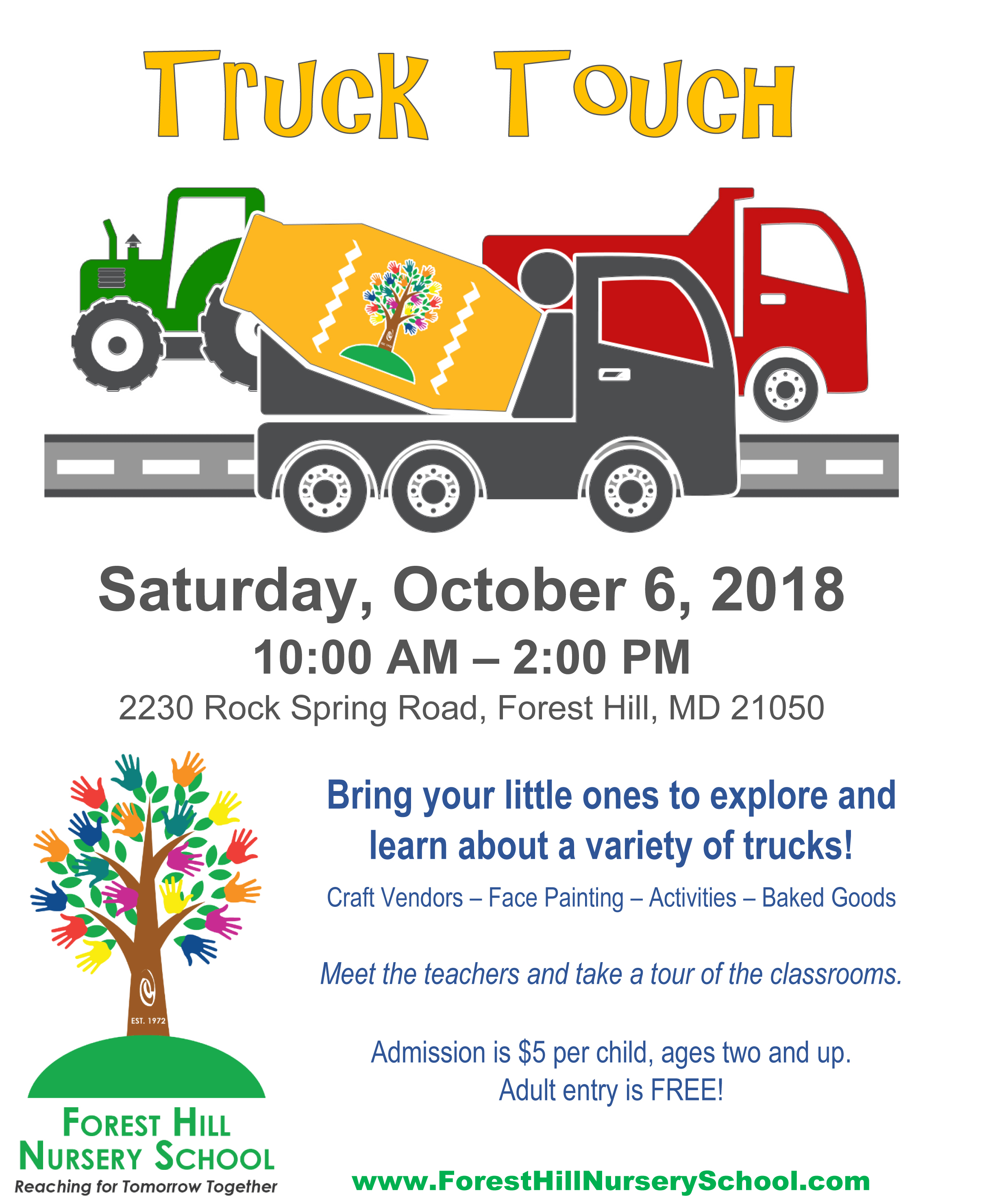 Forest Hill Nursery School Truck Touch – October 6
