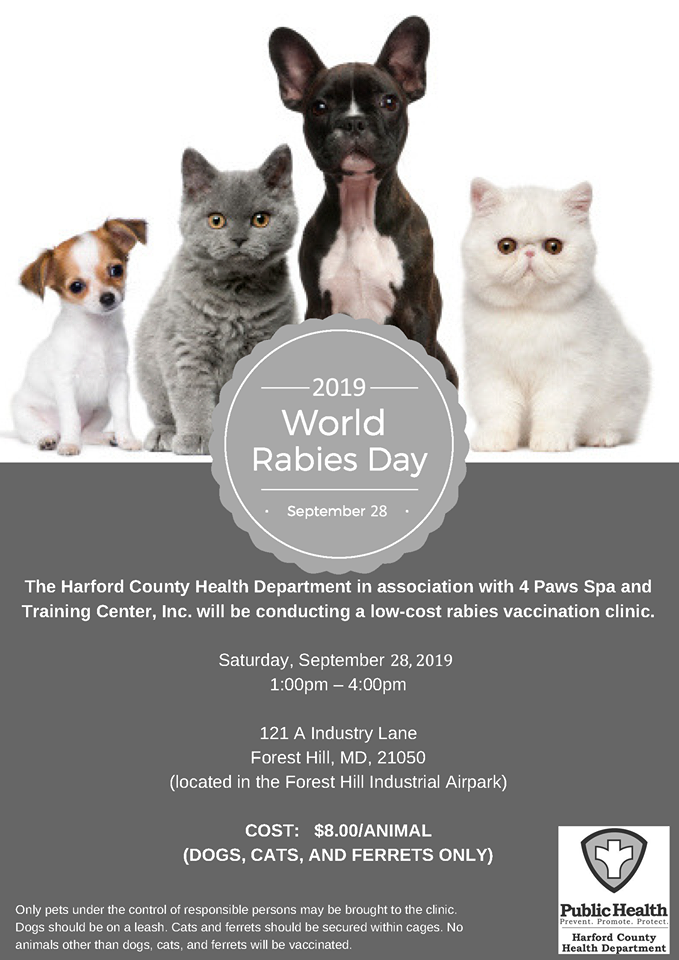 Harford County Health Department Offers Low-Cost Rabies Vaccinations for World Rabies Day
