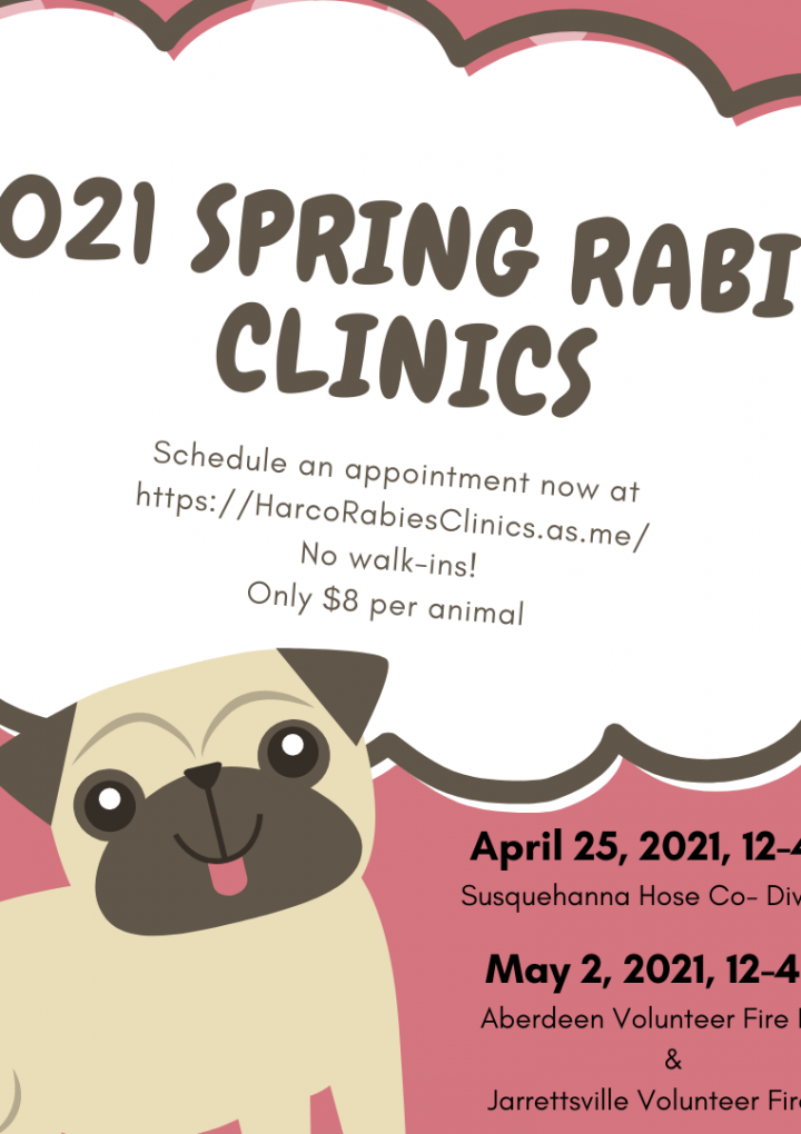 Health Department Announces 2021 Rabies Vaccination Clinic Schedule
